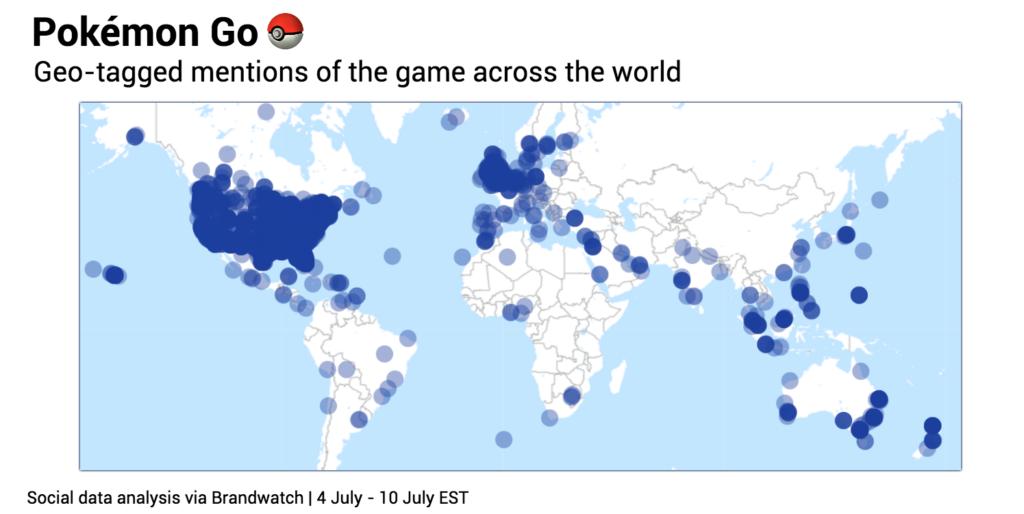 Datos de Pokémon Go generados en todo el mundo